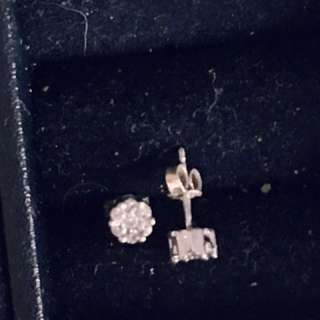 White Gold Diamond Stacked Studs
