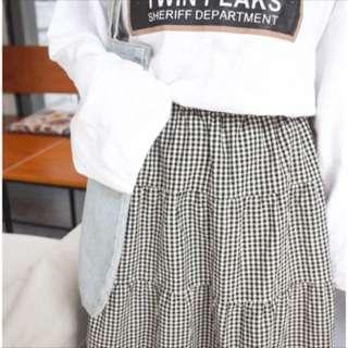 復古著黑與白格子蛋糕裙
