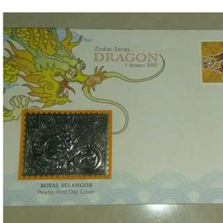 Singapore - Millenium Year of the Dragon FDC (Pewter) Royal Selangor - 2000