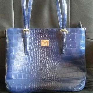 Purple Leather Snake Skin Tote Bag