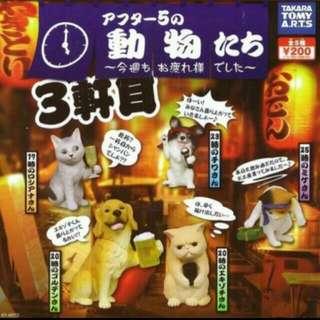 動物的下班後時光 動物的下班時光 動物下班 扭蛋 轉蛋 全新 五花貓 便當貓 吉娃娃 卡拉ok 唱歌 合賣