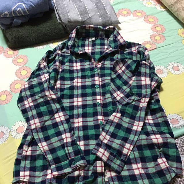 綠紅白格長袖襯衫