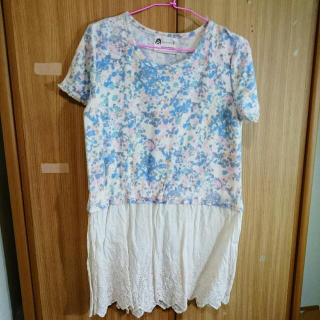 花紋短洋裝