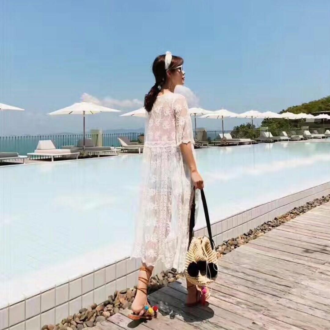 💋盛夏繆斯-韓國超美實拍白紗繡蕾絲比基尼長罩衫