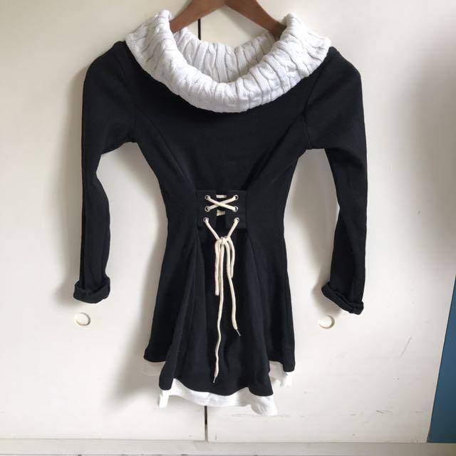 黑色 縮腰裙