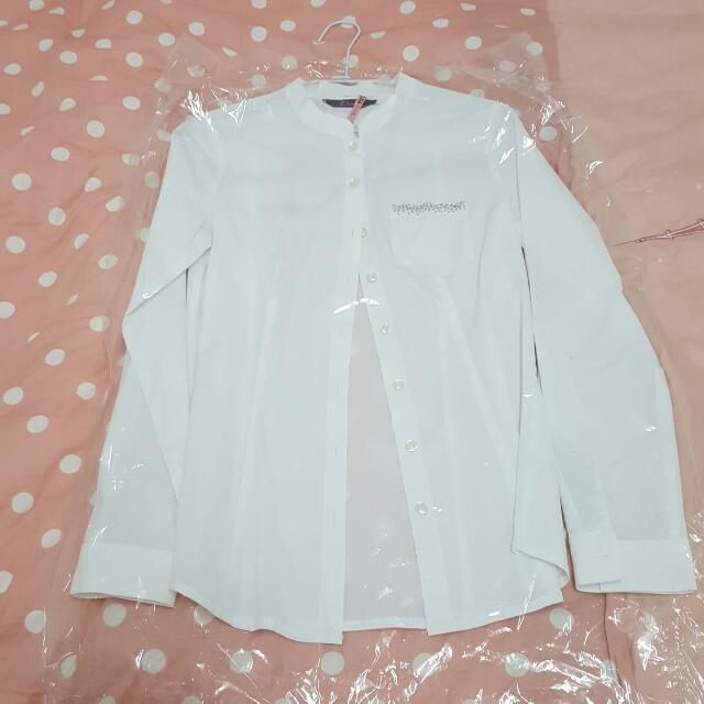 設計師品牌 白色捲袖襯衫 近全新品
