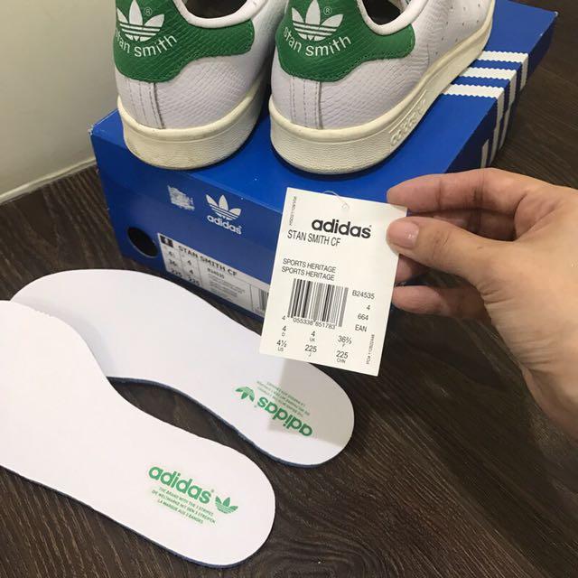 真品 Adidas 愛迪達 stan smith cf 鱷魚 B24534 魔鬼氈 白綠 22.5/36 附全新鞋墊