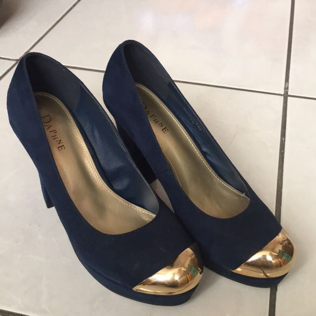 達芙妮 Daphne 深藍絨布厚底高跟鞋 38號(少穿鞋況新)