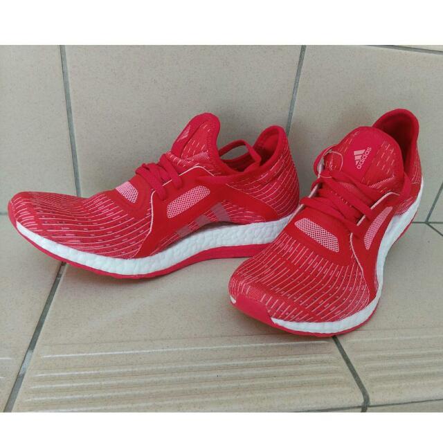 adidas PURE BOOST X  桃紅,橘紅色 避震跑鞋