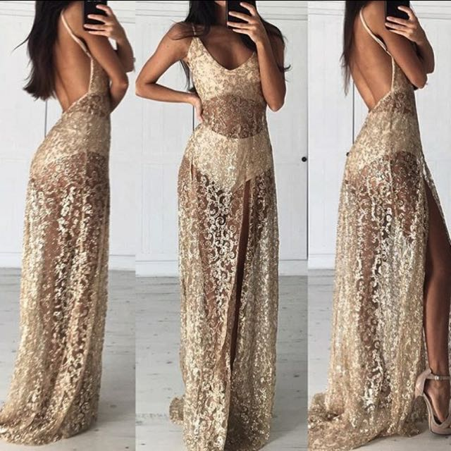 31f992481d0 ALAMOUR THE LABEL - ROZAY GOLD SEQUIN GOWN