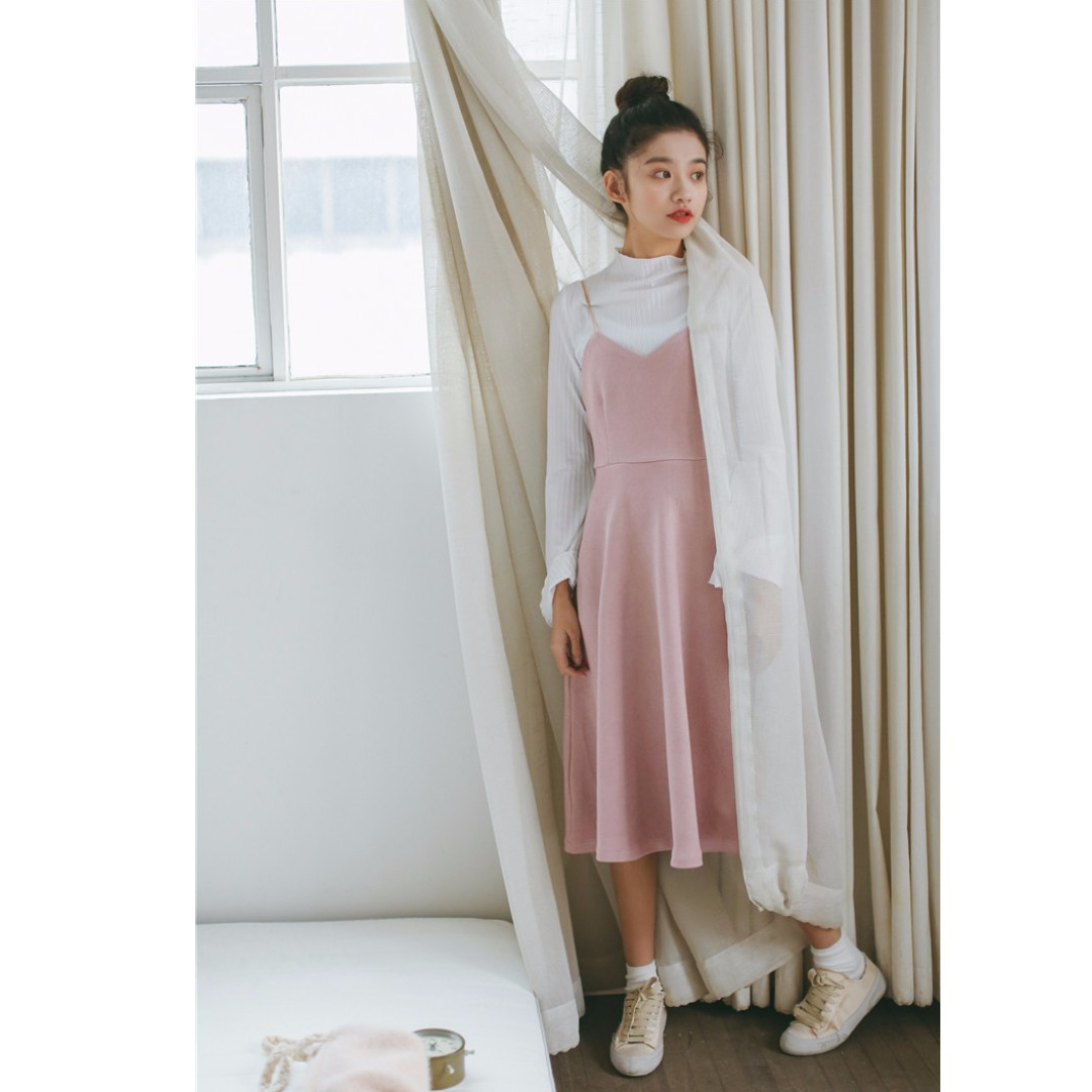 Classic A- line Gold Strap Dress/ Strawberry Milk
