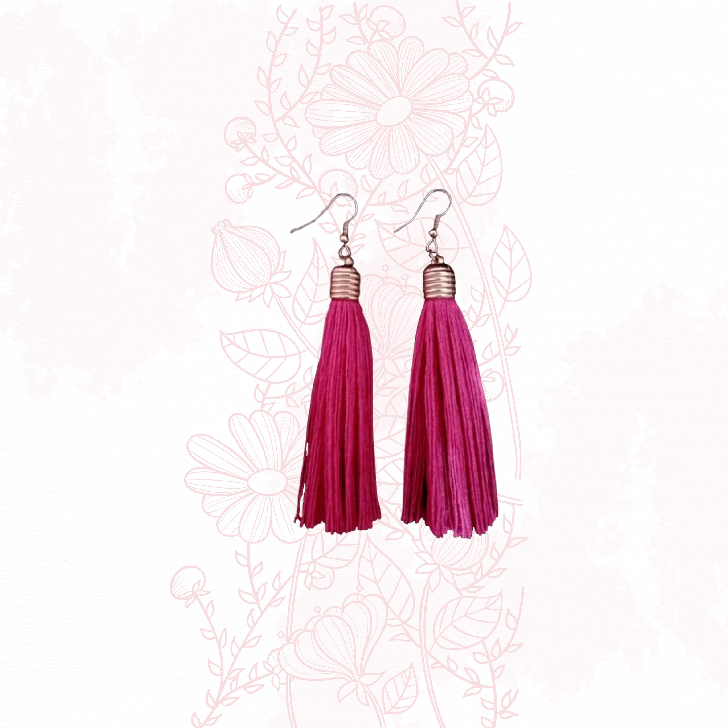 Anting ANTING HANDMADE - GOLD RUZ PINK / TASSEL / EARRINGS / EARRING