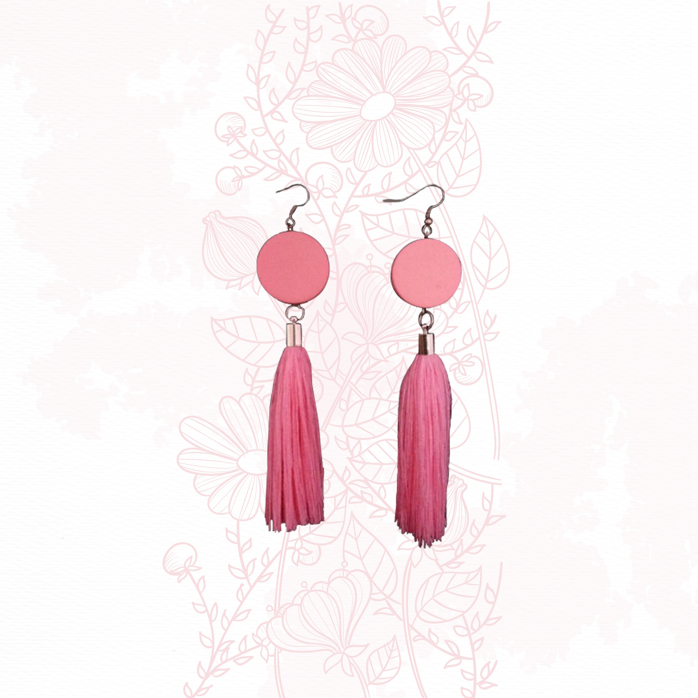 Anting Handmade - Moon Tassel Pink
