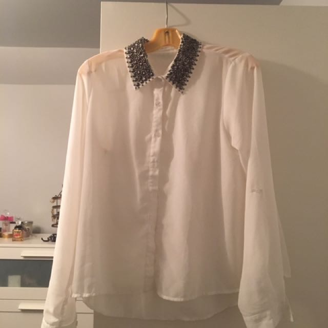 Beaded Collared Long Sleeve Top