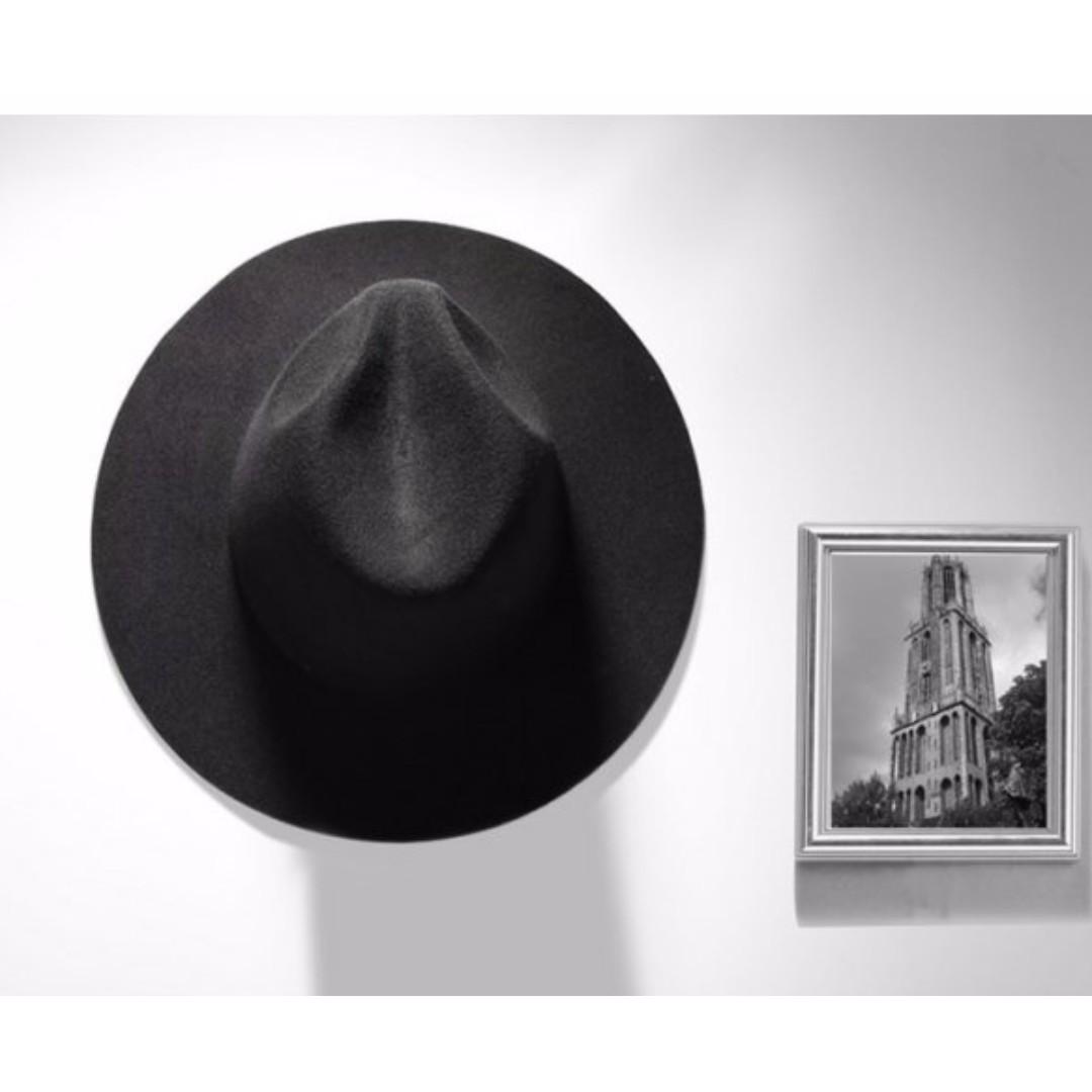 Black broad-brimmed hat (wool-felt maxi dress hat) 047a14ab18c