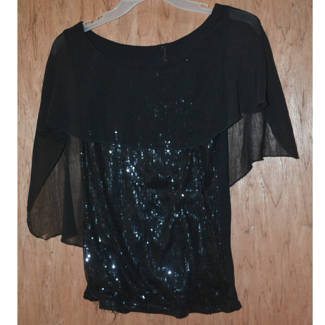 Black top with sequence beads and shawl-like style