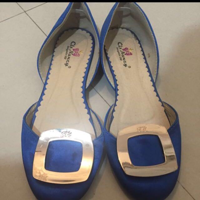 Blue Silk Shoes Size 8