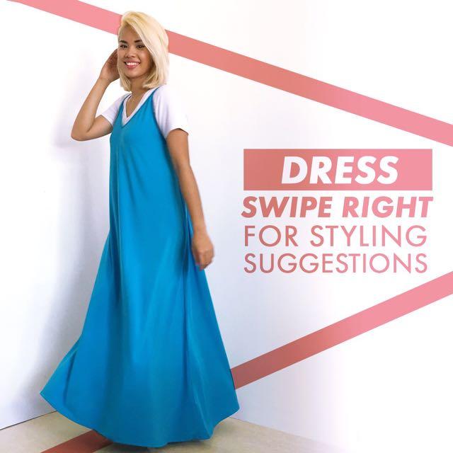 Blue Sleeveless Maxi Dress