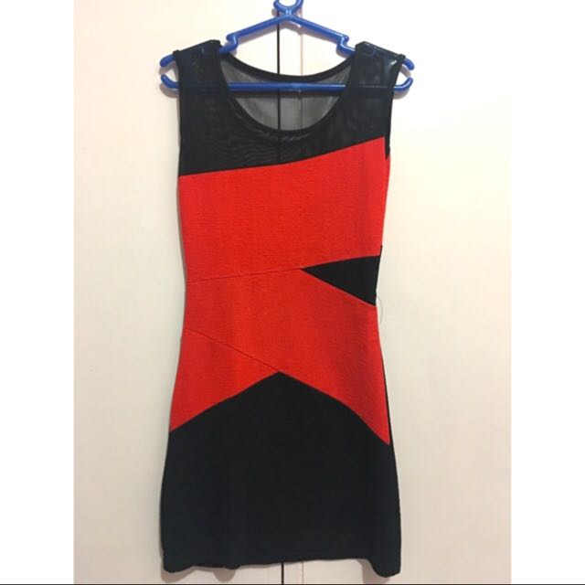 Bodycon Red and Black Dress