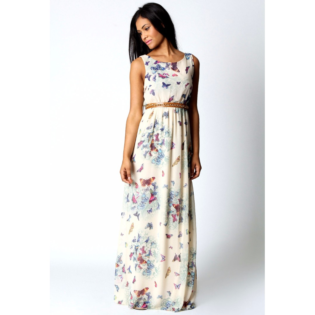180c72bd3fe1 BOOHOO Butterfly Chiffon Maxi Dress, Women's Fashion, Clothes ...