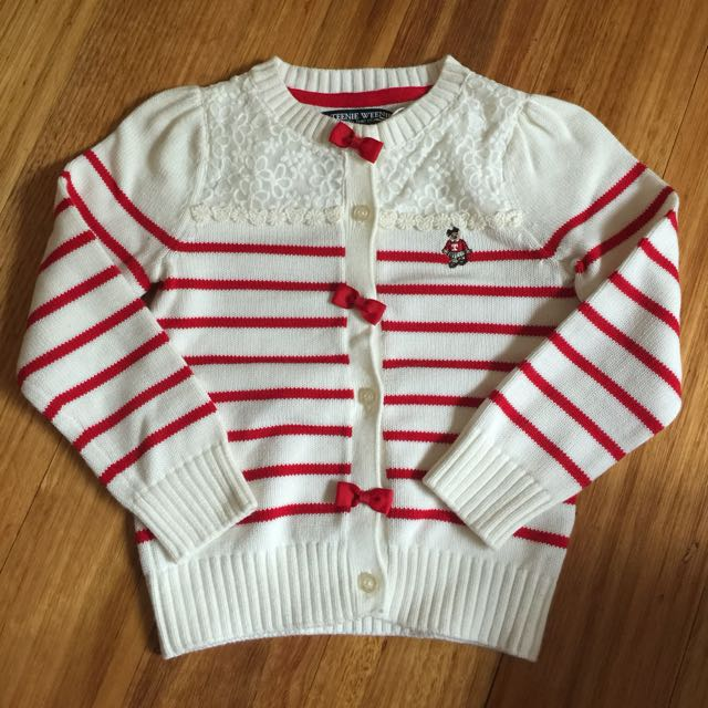 BRAND NEW Girls Red/White Knit Jumper with front/back Lace details