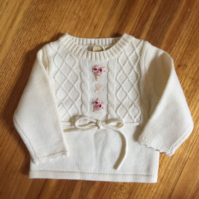 BRAND NEW Toddler Girls White L/S Knit Jumper