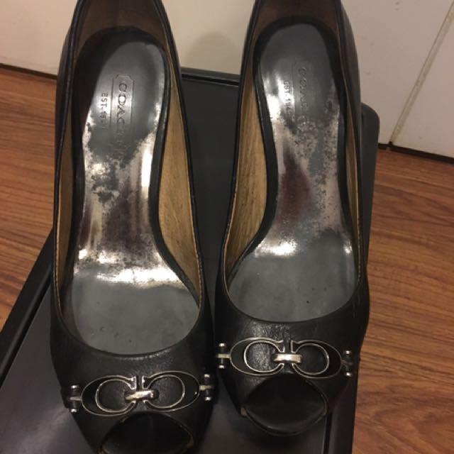 Coach Shoes - Black Wedge Size 5.5