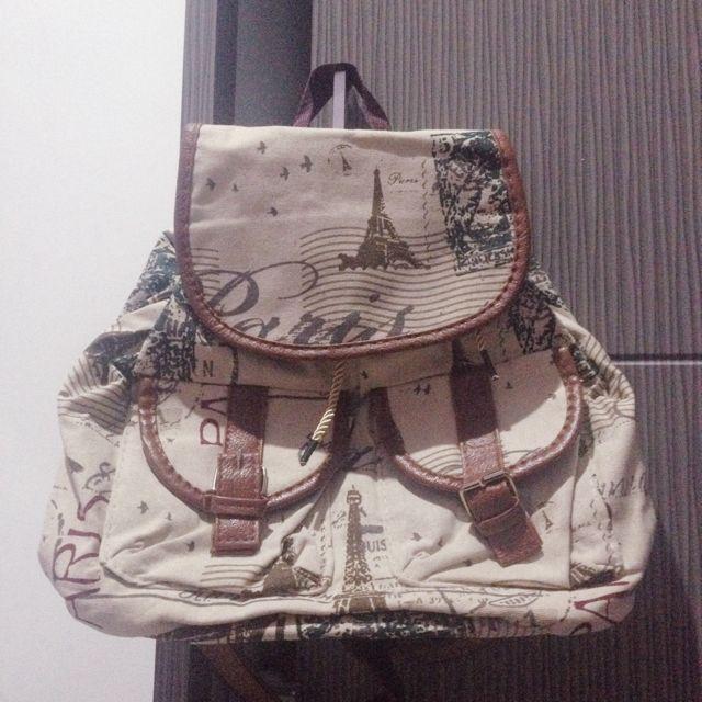 Cream n Brown Vintage Bag