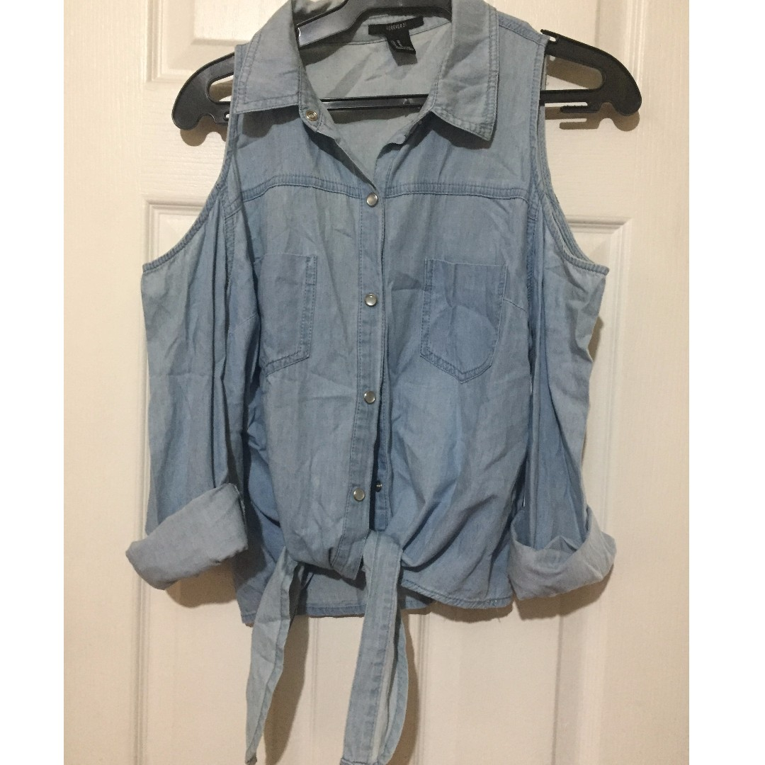 Cut Out Denim Shirt with Front Tie