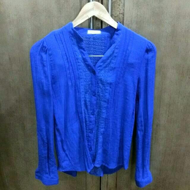 Electric Blue MINE Lace Blouse