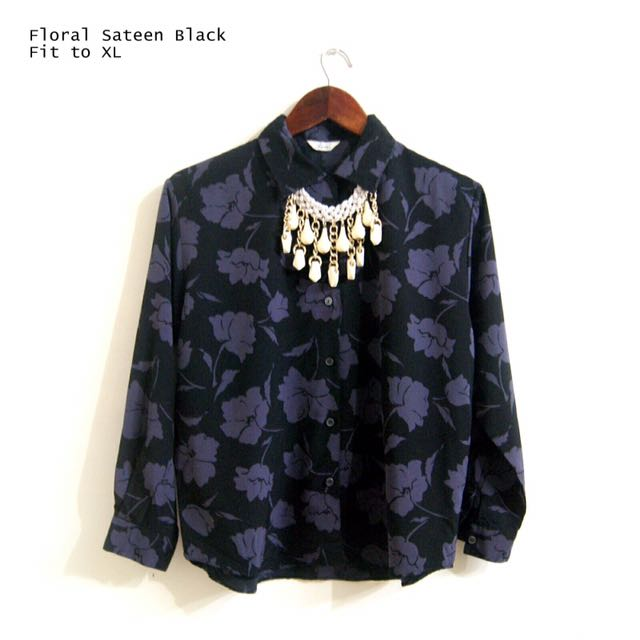 Floral Sateen Black