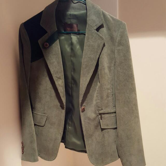 Green Suede Jacket With Leather Details