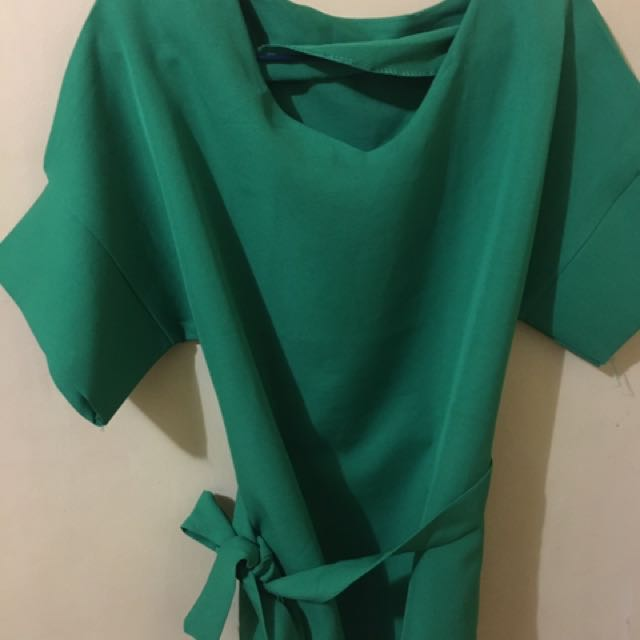 Green top with belt