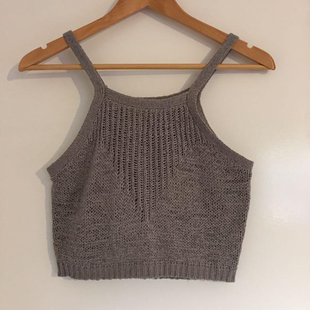 Grey knit Crop Paint It Red