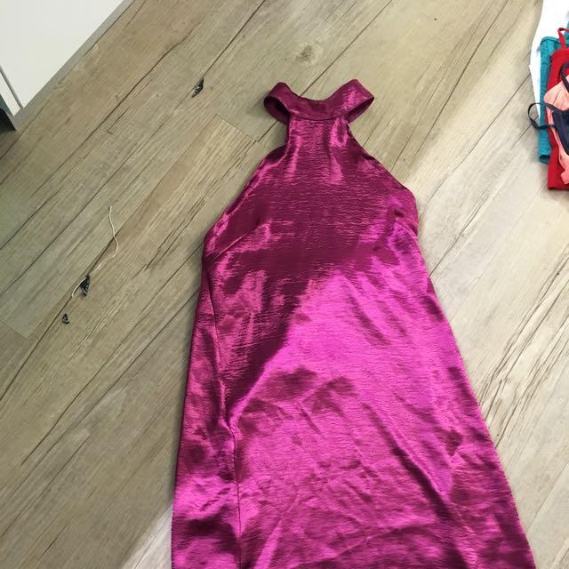 high neck halter silk dress