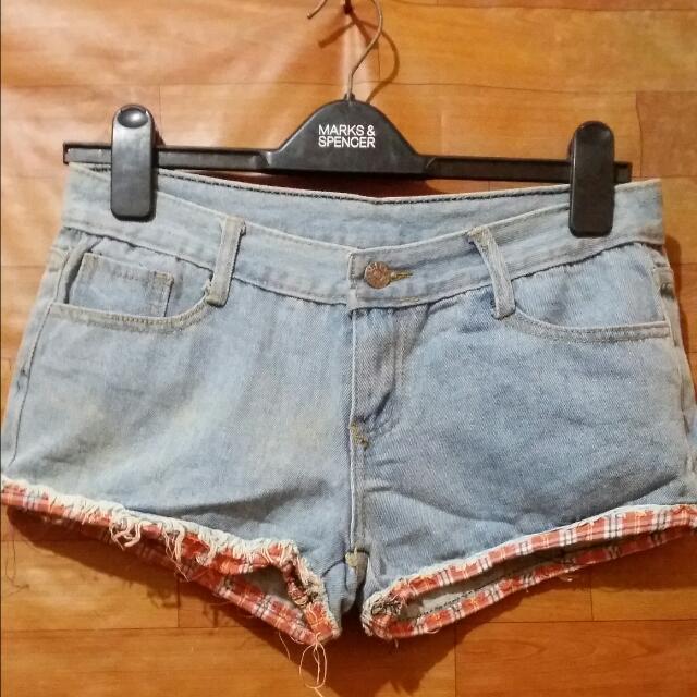 Hotpants Jeans Rumbay Motif Kotak