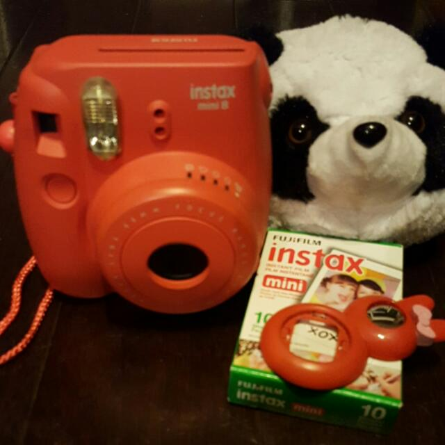 Instax Mini 8 Raspberry Color With Selfie Lense