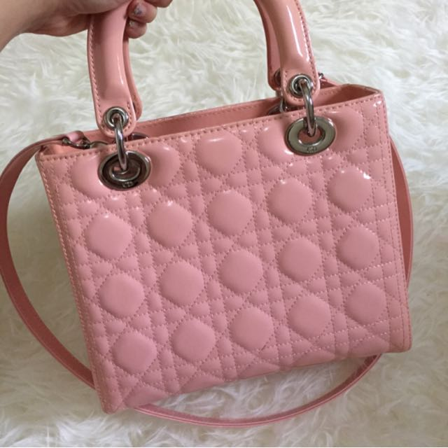 Lady Dior Patent In Baby Pink
