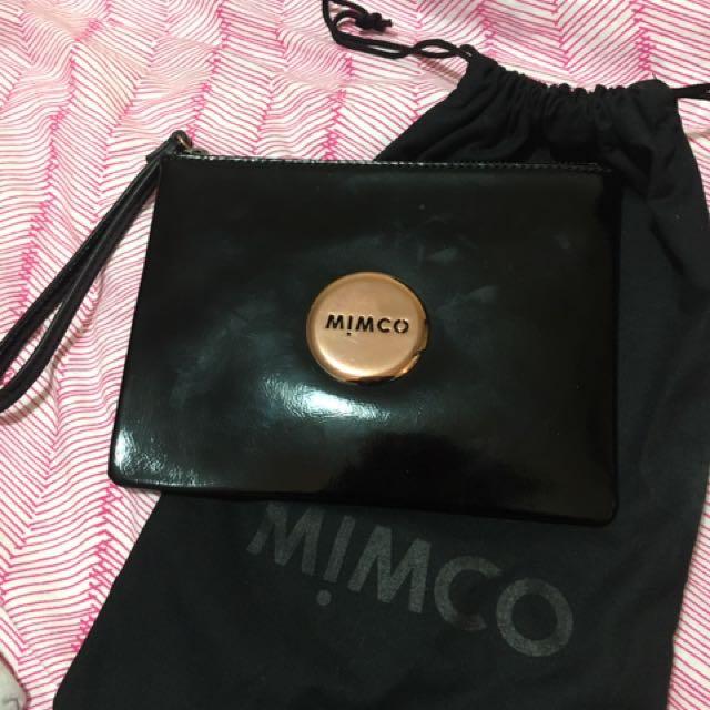 MIMCO BLACK & ROSE GOLD MEDIUM POUCH