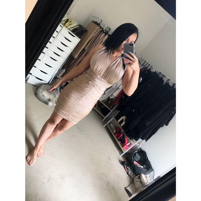 Nude Wrap Around Dress