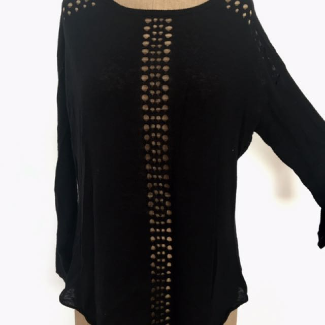 Oxford Thin Black Linen Cotton Jumper With Cutout Holes