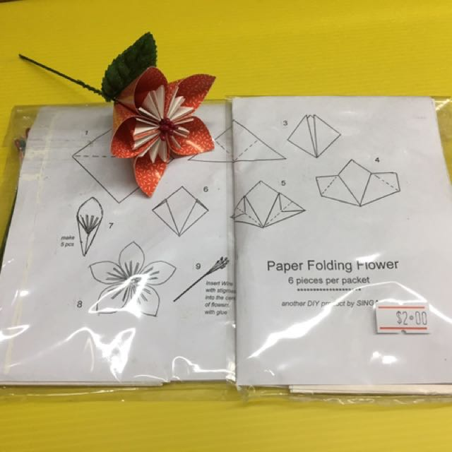 Paper Folding Flower Design Craft Craft Supplies Tools On
