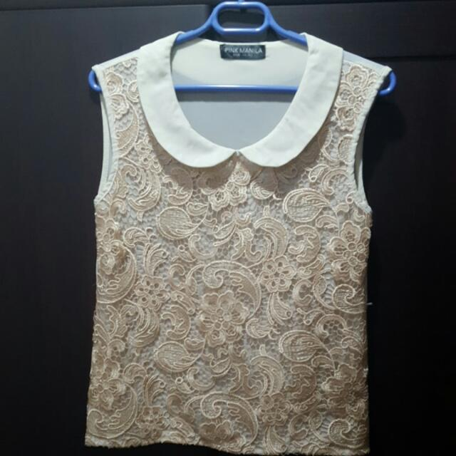 Pink Manila Beige Sleeveless Top
