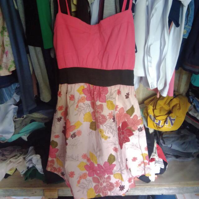 Pink With Floral Design Dress
