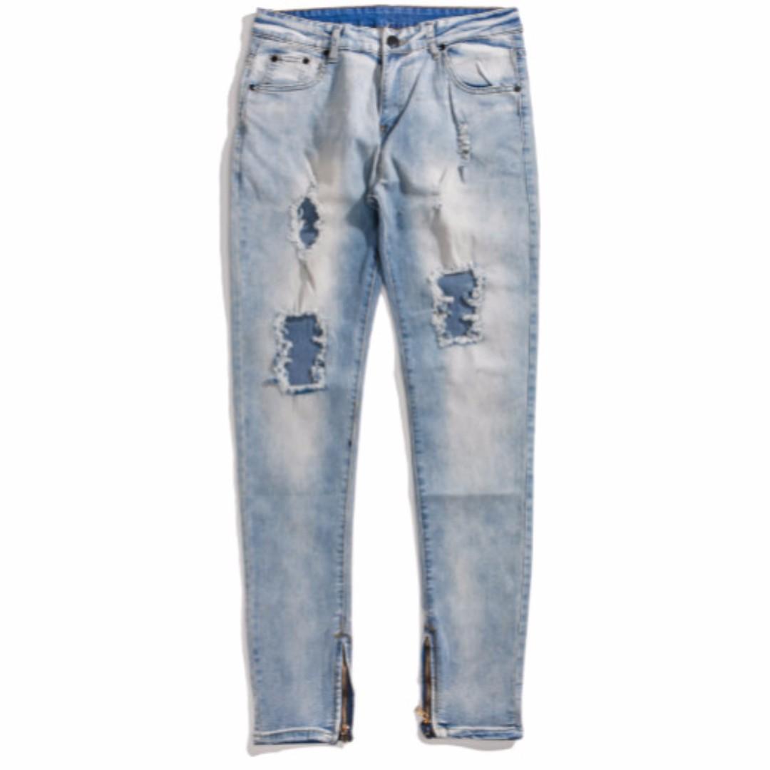 Prizer 歐美風 賈斯汀款 凱文衛斯特著用款 破壞 褲管拉鍊 破壞 彈性牛仔長褲