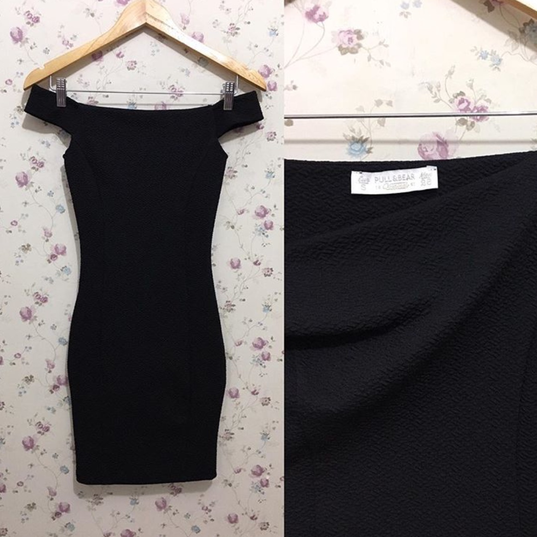 Pull & Bear Off-shoulder Little Black Dress
