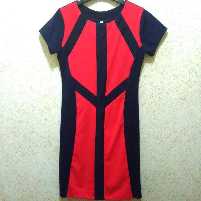 Red & Black Fit Dress