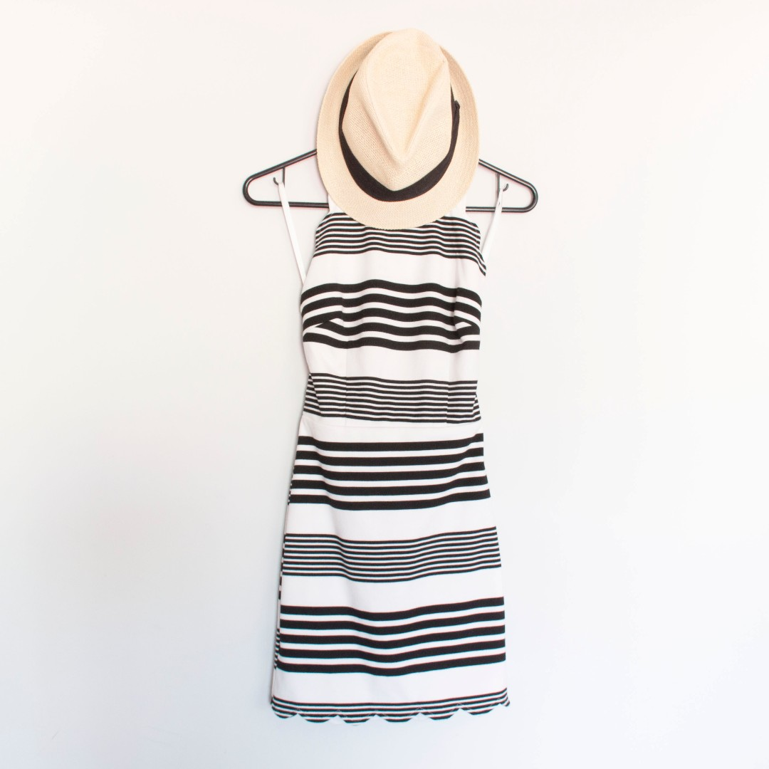 Size 8 Striped Dress with Criss-Cross Back