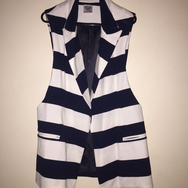 Striped Sleeveless Blazer