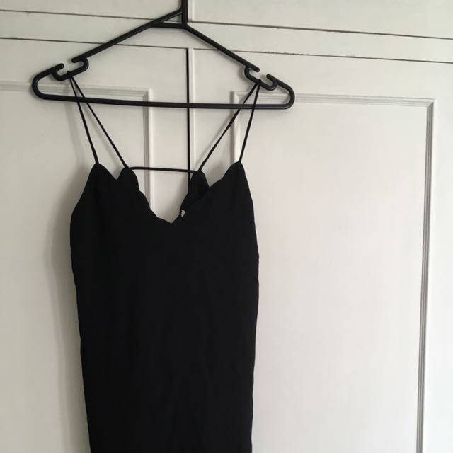 Lily Loves Black Shoestring Straps Top Size 8